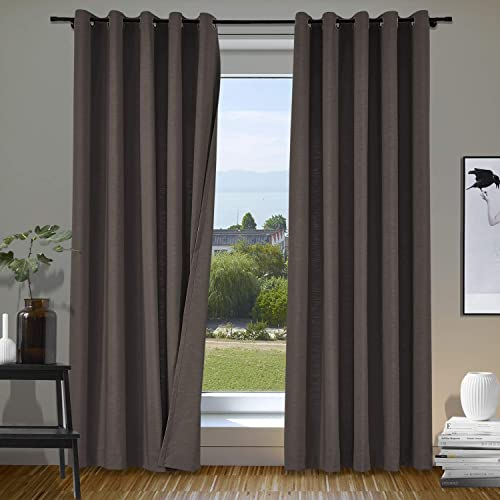 cololeaf Extra Long and Wide Curtains Home Decorative Rich Natural Linen Panels Bronze Grommet Eyelete Wider Curtain Large Size