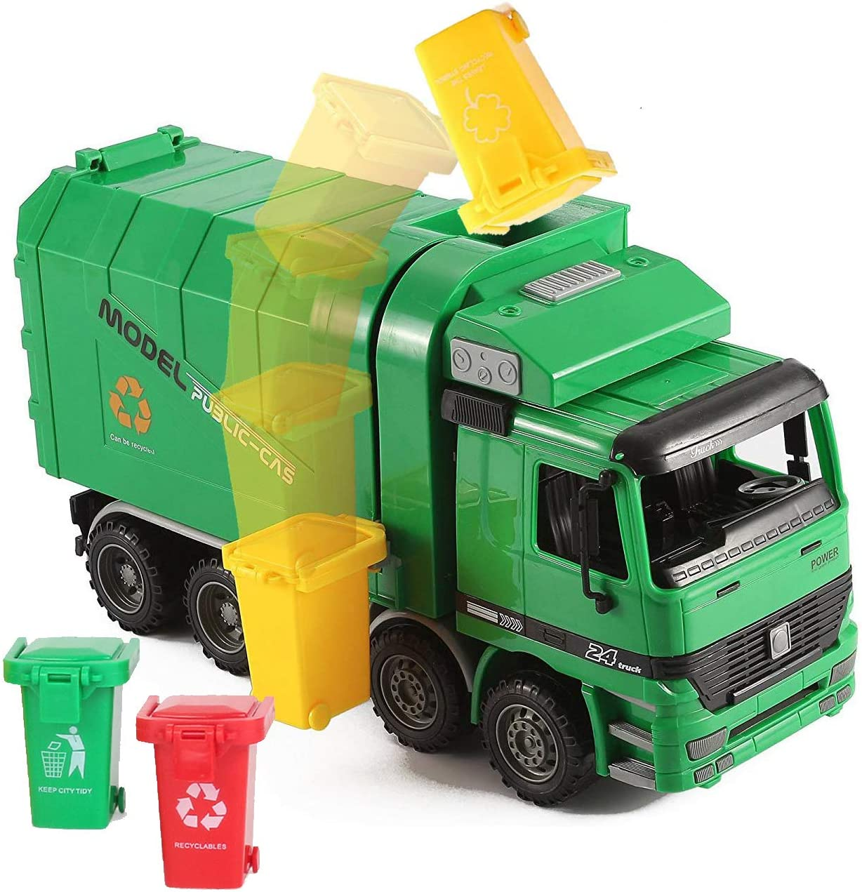 "Liberty Imports 14"" Oversized Friction Powered Recycling Garbage Truck Toy for Kids with Side Loading and Back Dump"
