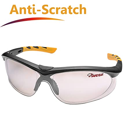 fb39e83926 SAFEYEAR Anti Scratch Safety Glasses- SG005 VU Protection Work Sunglasses  for Men and Women No-Slip Grips, Eye Protection Safety Goggles for DIY,  Lab, ...
