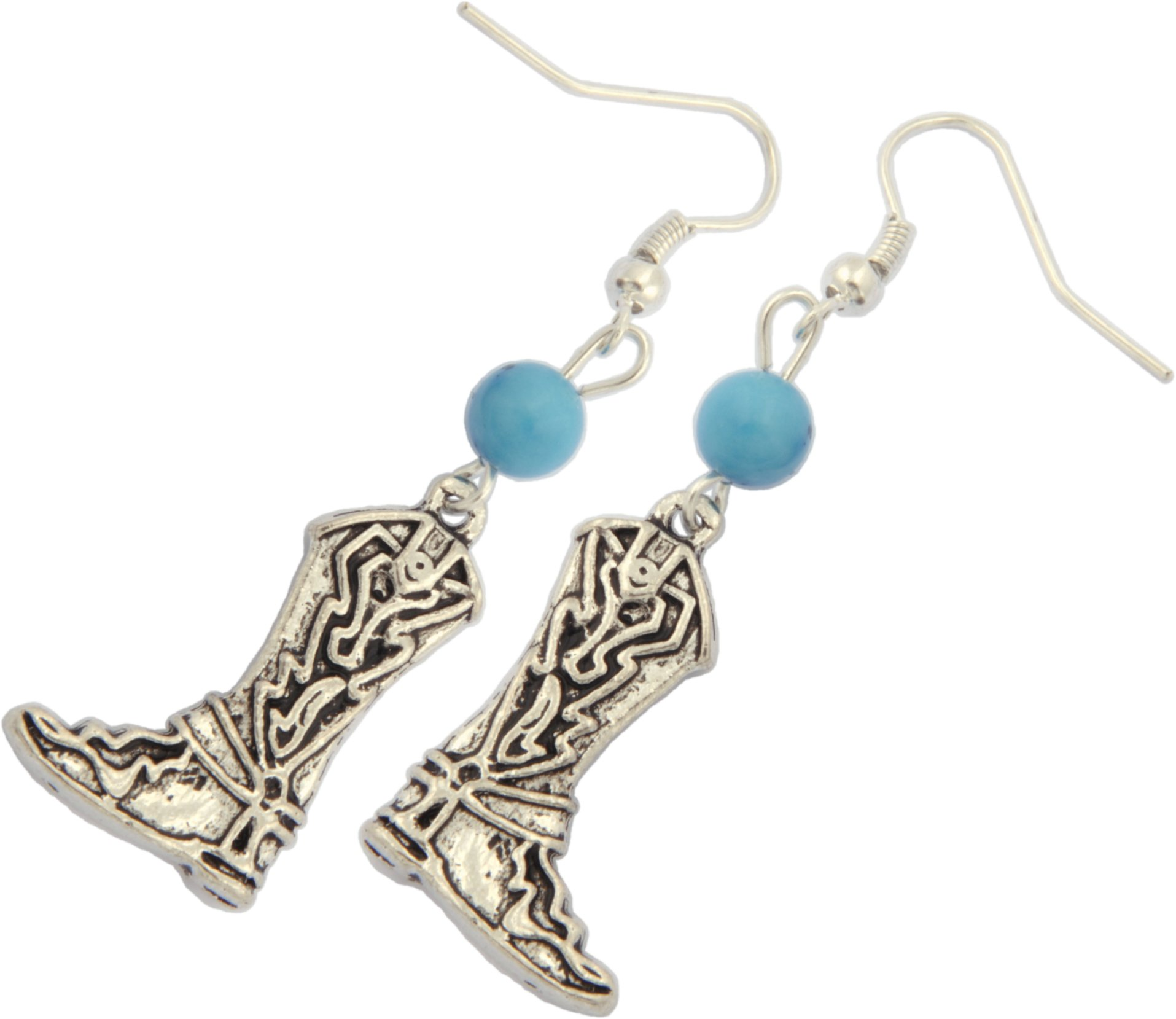 Earrings,Cowboy Boots with Turquoise Howlite Gemstone Dangle Earrings + FREE GIFT BAG