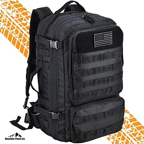 521e6c5e3fd3 Amazon.com : Boulder Pack Co. Military Army Tactical Backpack Bag, Large  40L, MOLLE Assault Pack with Rain Cover, Expandable Size and Water Bladder  ...
