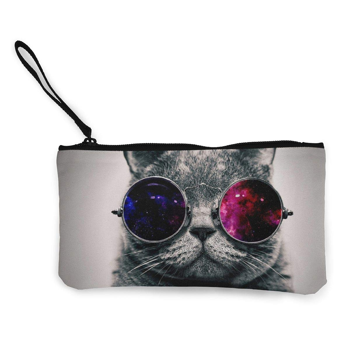 Small Zipper Bag in Gray with Cats Wearing Glasses Small Zipper Coin Purse Little Zipper Pouch