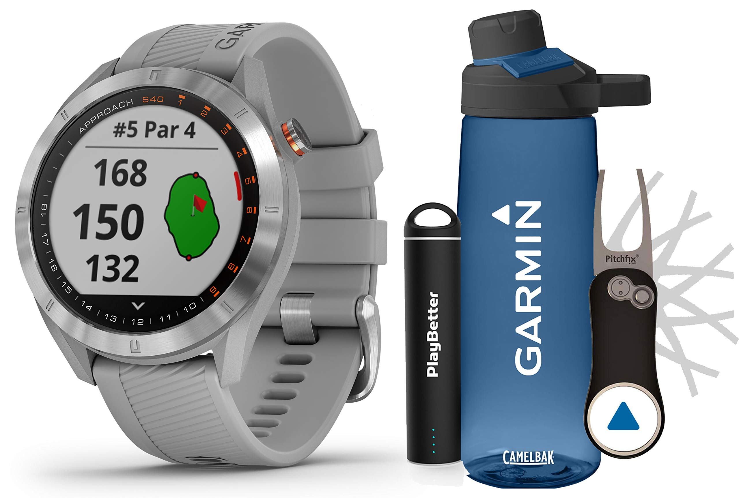 Garmin Approach S40 (Powder Gray) Golf GPS Smartwatch Premium Gift Set Bundle   +HD Screen Protectors, Garmin/PlayBetter Premium Water Bottle, Pitchfix Divot Tool & Portable Charger   41,000+ Courses