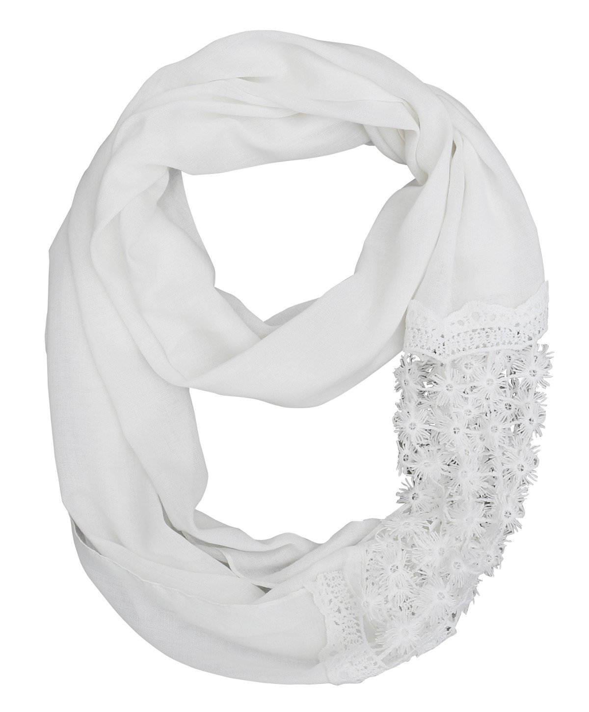 Lace Lightweight White Infinity Scarf Women – 2018 New Fashion Design Thin Light Soft Scarfs For Spring Summer, Ideal Gift(CL1-07)
