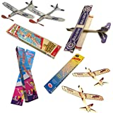 Jetfire Glider Balsa Wood Airplanes by Guillows Bullseye Biplane - Sky Streak Airplane Wind Up Rubber Band Powered Toys for Kids with Sunny Glider Planes