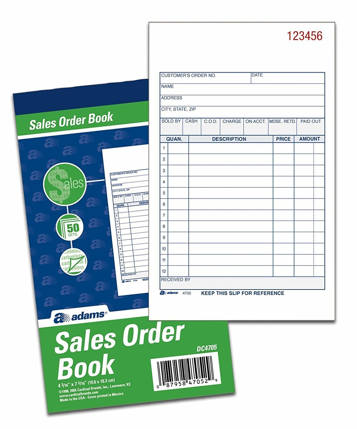 Adams Sales Order Books, 2-Part, Carbonless, White/Canary, 4-3/16 x 7-3/16 Inches, 50 Sets per Book, 6 Books by Adams