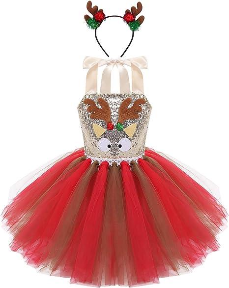 Freebily Disfraz Elfo Niña Xmas Vestido Lentejuelas Fiesta con ...