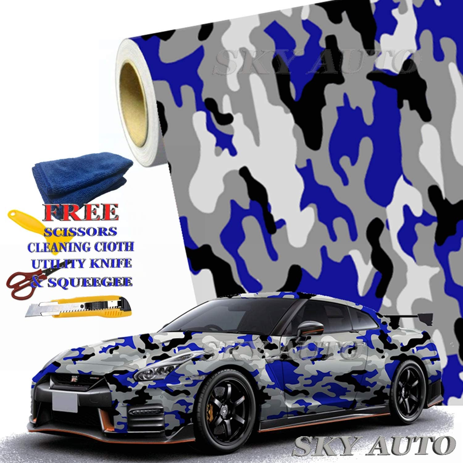 Sky Auto INC Blue Black White Gray Camouflage Vinyl Car Wrap