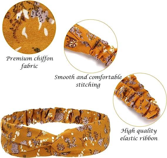 Folora 4 pezzi fasce per capelli incrociate elastiche incrociate intrecciate a due tonalit/à in cotone morbido per donne ragazze