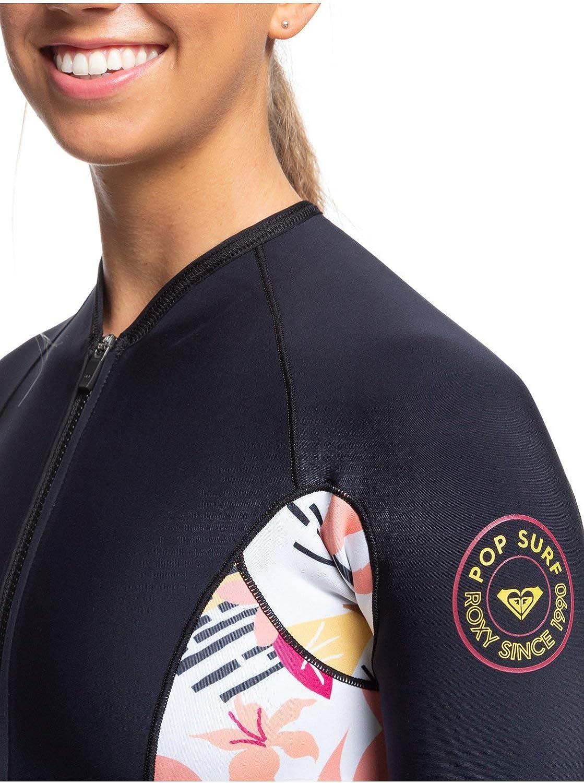 Roxy Erjw403019 Short de surf à manches longues avec fermeture éclair pour femme 1,5 mm Noir/terre cuite.