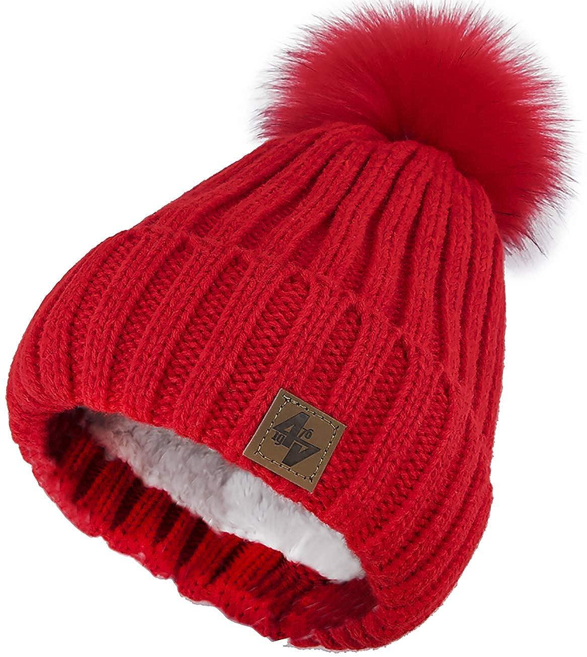4sold Herren Damen Wurm Winter Style Beanie Strickmütze Mütze mit Fellbommel Bommelmütze Hat Gestrickte Pudelmütze Plain Ski Pom Wooly with Full Cosy Fleece-Futter