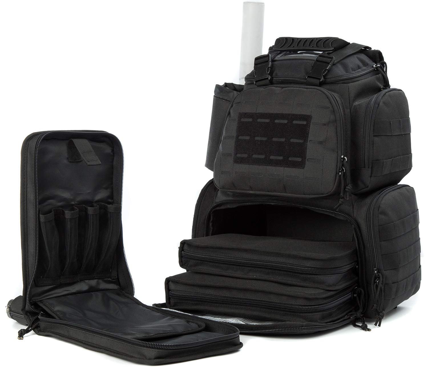 SUNLAND Range Bag Backpack,Gun Backpack with 3-Pistol Case and Protective Rain Cover,Tactical molle System & Lockable zippers-18'' x 14'' x 8'' (Blk)