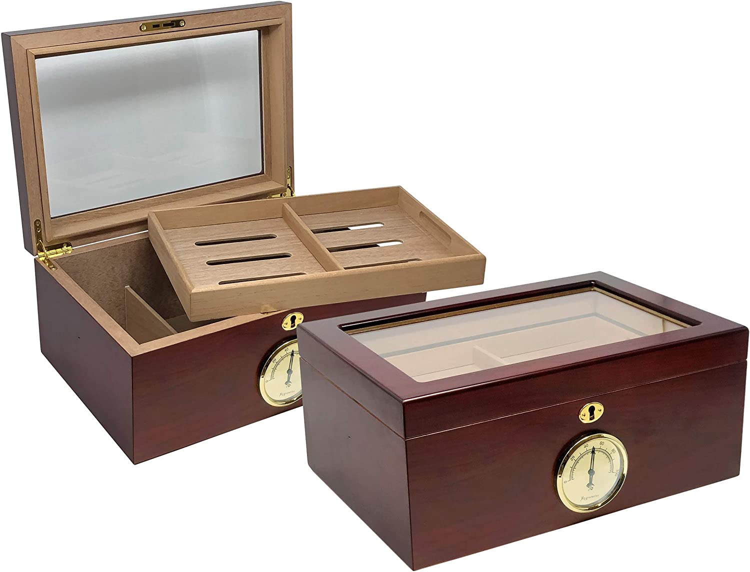 Prestige Import Group - Berkeley Glass Top Humidor - Capacity: Up to 100 - Color: Cherry
