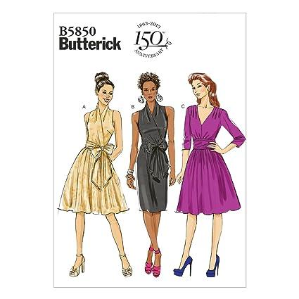 Butterick B5850 - Patrones de costura (vestidos para mujer, 4 modelos, en inglés