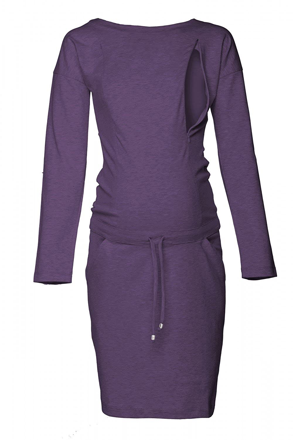 Happy Mama. Damen 2in1 Umstands Still Sweatshirt-Kleid Lange Ä rmel Taschen. 709p nursingdress_709