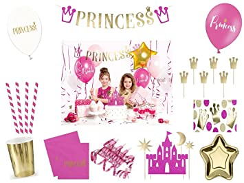 Xxl Party Deko Set 1 Geburtstag Kindergeburtstag Princess Pink Gold