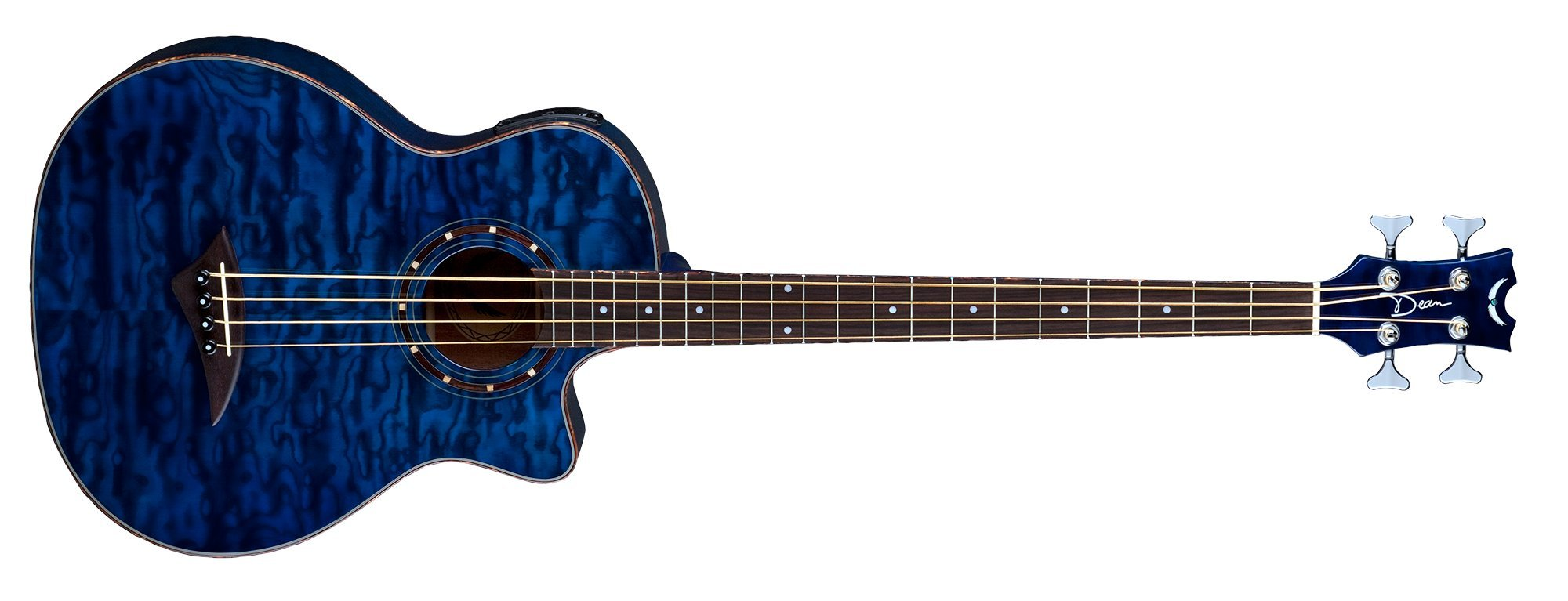 Dean EQABA TBL Exotica Quilt Ash Acoustic/Electric Bass Guitar with Aphex, Trans Blue