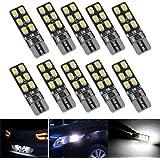 FEZZ Coche LED Bombillas T10 2835 12SMD W5W Canbus para Luces de Posición Laterales Luz de la placa del auto Blanco (Paquete de 10)