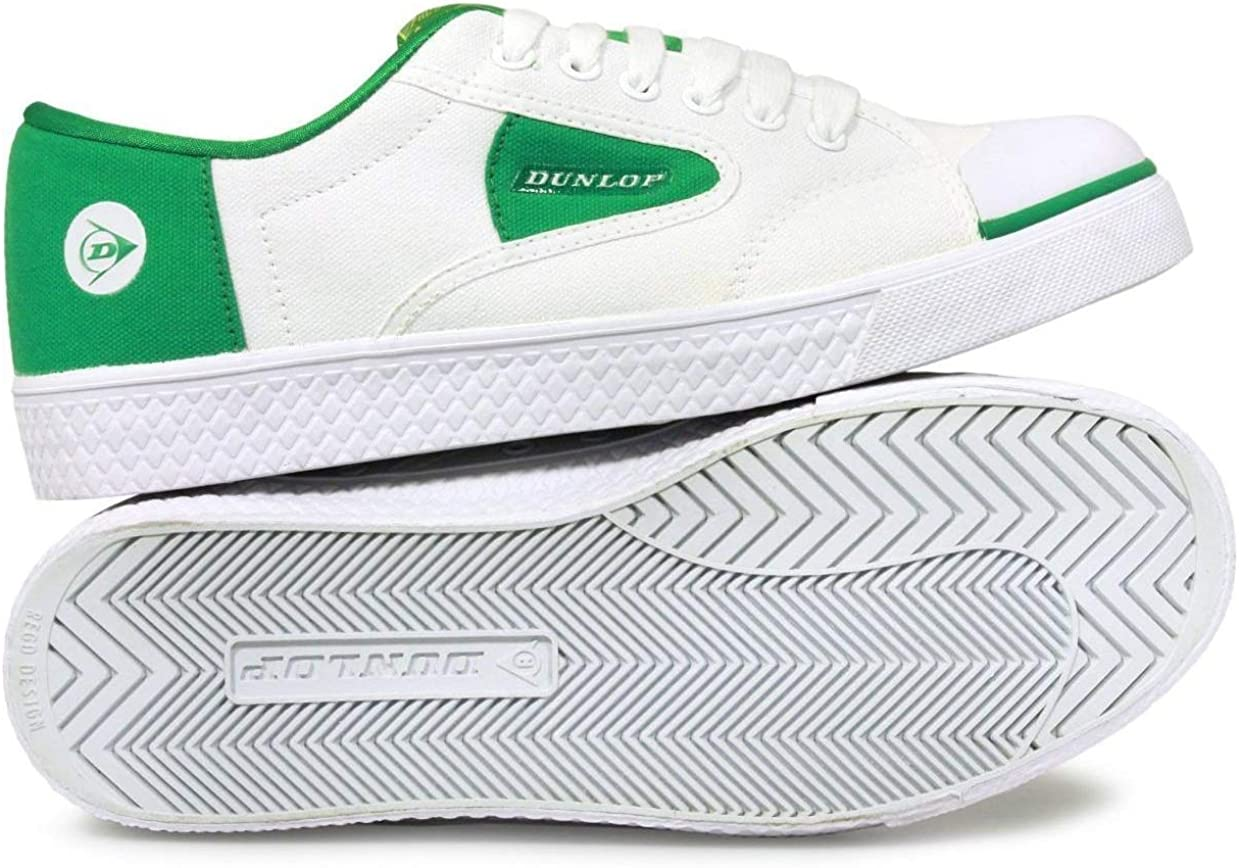 Dunlop Unisex Childrens 00614-02020 White Classic Vulcanised Canvas Shoe with Green Contrast Detail