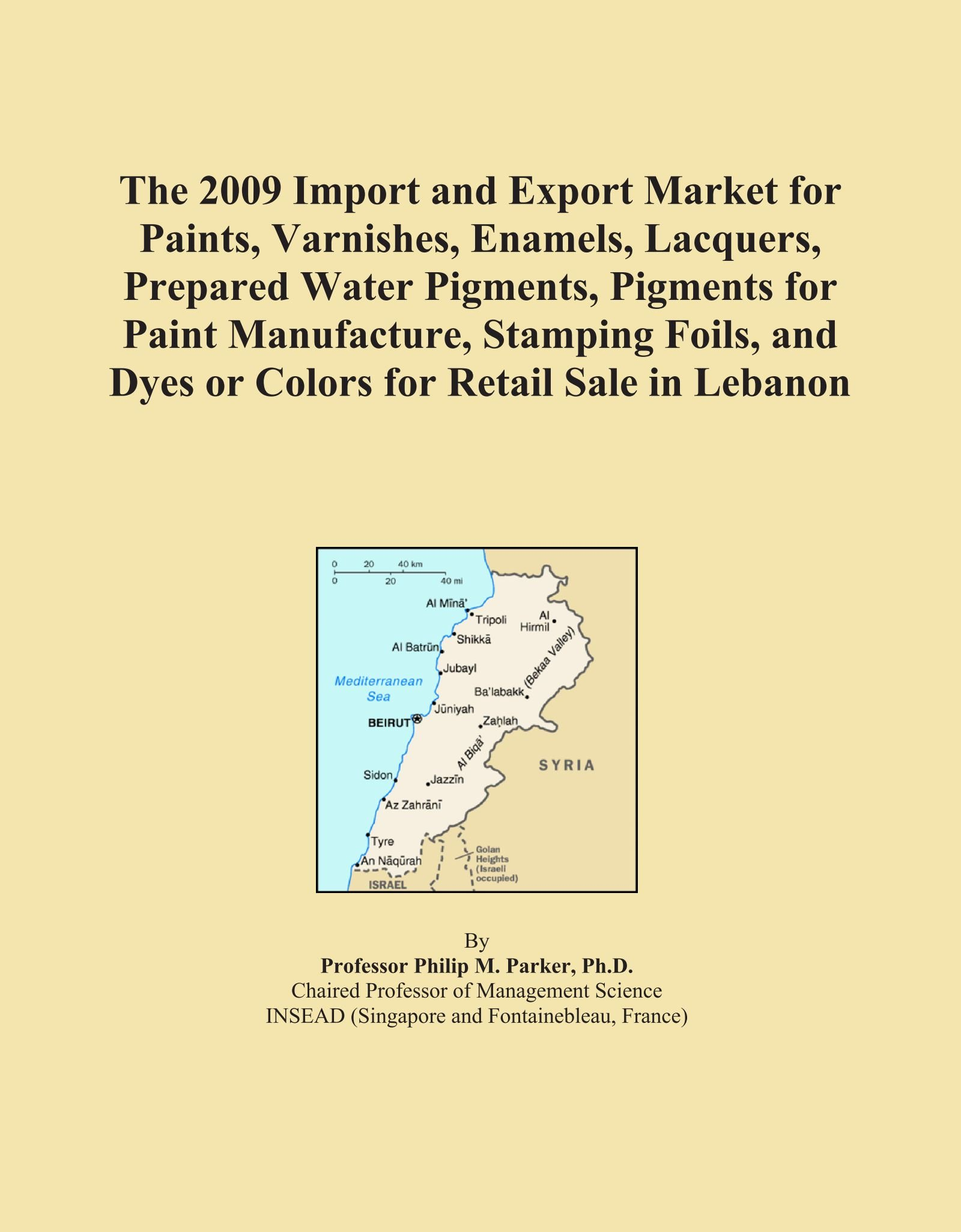 The 2009 Import and Export Market for Paints, Varnishes, Enamels, Lacquers, Prepared Water Pigments, Pigments for Paint Manufacture, Stamping Foils, and Dyes or Colors for Retail Sale in Lebanon pdf