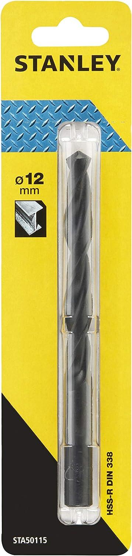 Stanley STA50115-QZ Broca HSS-R laminada para metal ø 12mm, Negro