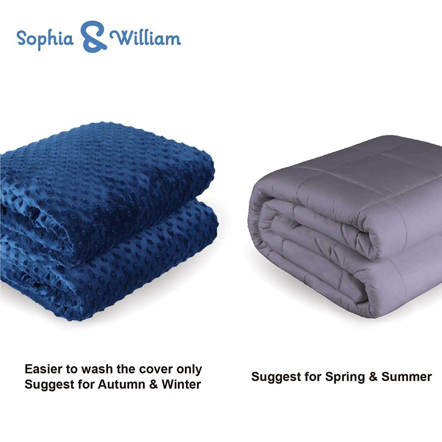 Light Blue Sophia /& William Weighted Blanket for Adult Cotton 25 lbs Free Minky Cover Incluede 60x80
