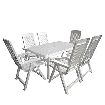 Gartengarnitur Campingmöbel Set Tisch 80x75cm 2x Gartenstuhl Kunststoff Weiß