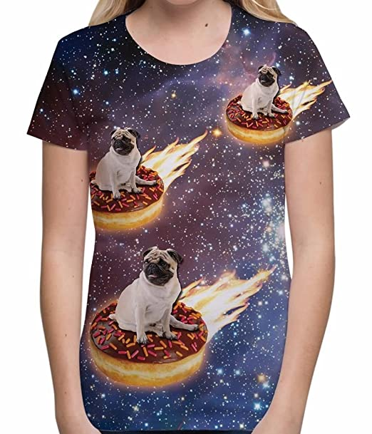 Pug Donut Riders in Space Novelty Cute Funny Dog Lover Unisex Womens T-Shirt -