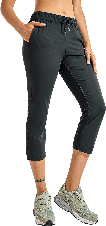 CRZ YOGA Women's Stretch Capri Pants Travel Mid Rise Drawstring Joggers Casual Jogging Lounge Pants Crop with Pockets