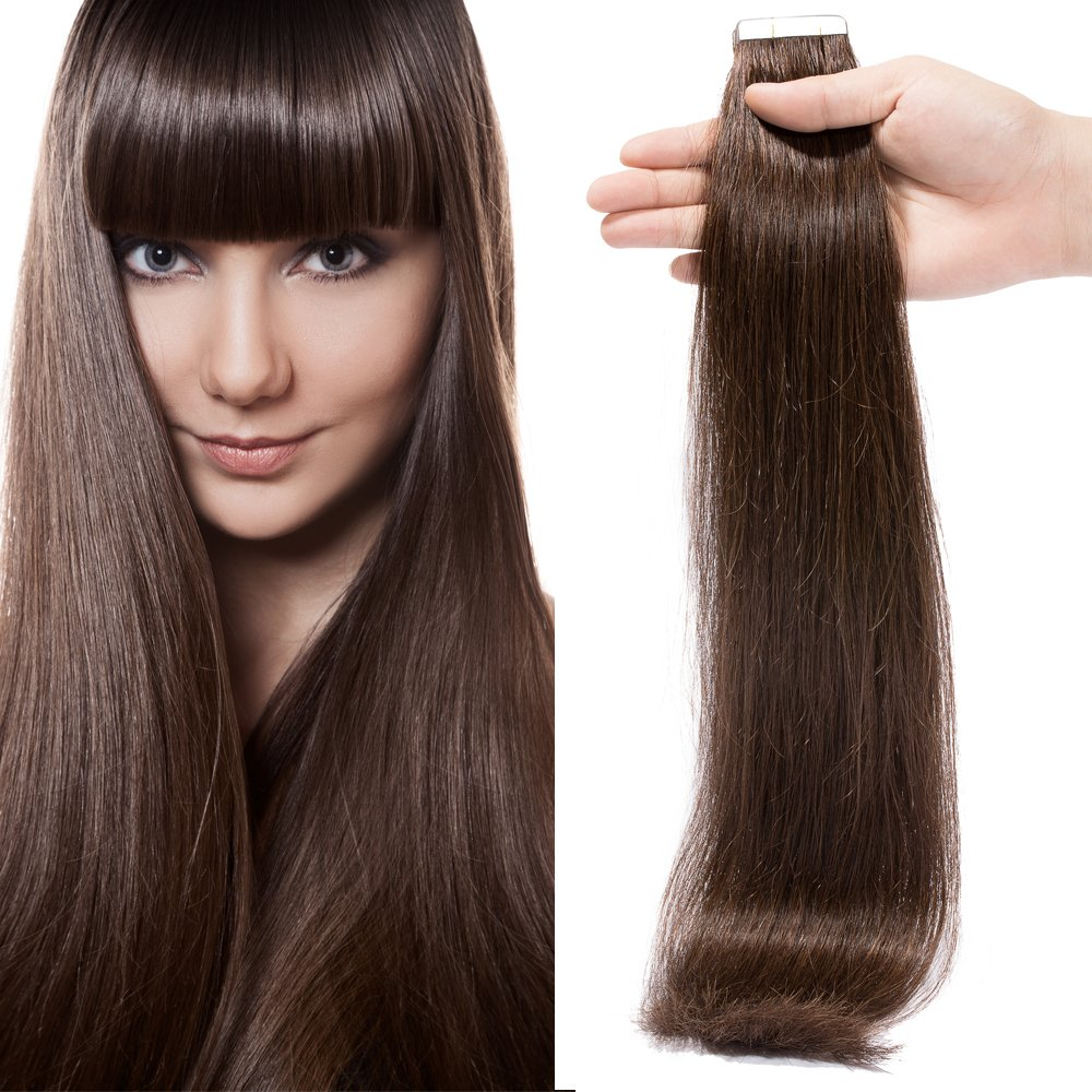 35cm Extension Capelli Veri Adesive 20 fasce con Biadesivo 40g set Remy  Human Hair Tape 26bddcde926f