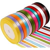 Anpro 12PCS Ruban Satin Mixte Coloris 10mm x 22m environ Décoration Pour Diy, Mariage ,Fête et Emballage Cadeau, Faire nœud Papillon
