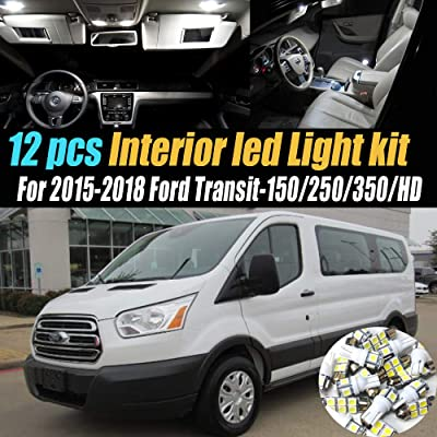 12Pc Super White 6000k Car Interior LED Light Bulb Kit Pack Compatible for 2015-2020 Ford Transit-150/250/350/HD: Automotive