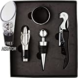 Wine Gift Set Includes Corkscrew Wine Bottle Opener Professional Stainless Steel Waiter Style Opener with Foil Cutter, Stopper, Drip Ring and Pourer by Vite Dolce