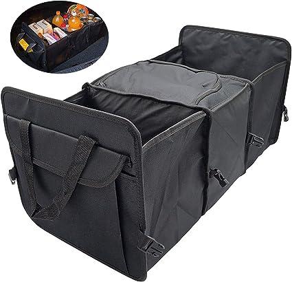 Amazon.es: DESON Organizador Maletero Coche, Caja Plegable de Coche, Cesto Plegable para Maletero con 3 Compartimentos, Negro