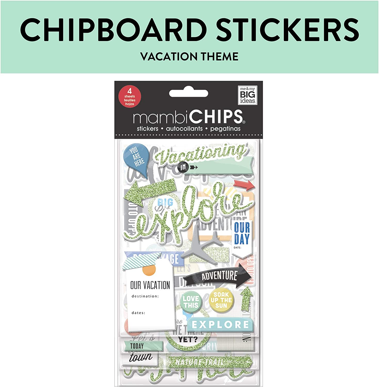Me & My Big Ideas mambiChips Chipboard Stickers - Scrapbooking Supplies - Vacation Theme - Metallic Glitter & Multi-Color - Great for Projects, Scrapbooks & Albums - 4 Sheets, 65 Stickers Total