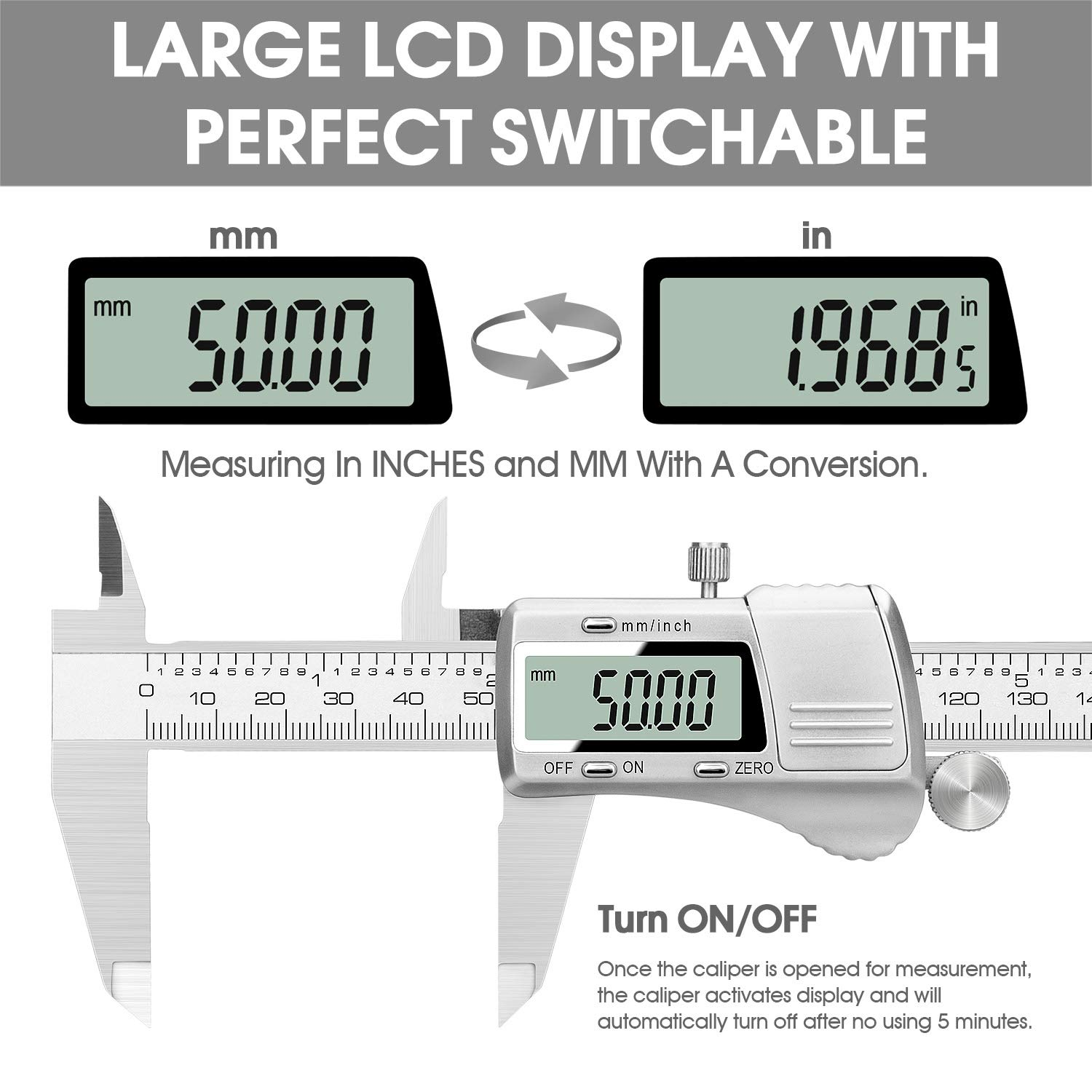0-6 Inch//Metric Conversion VAVINK High Precision Caliper Gauge 0-150mm Electronic Digital Vernier Caliper Stainless Steel Digital Caliper with Extra-Large LCD Display