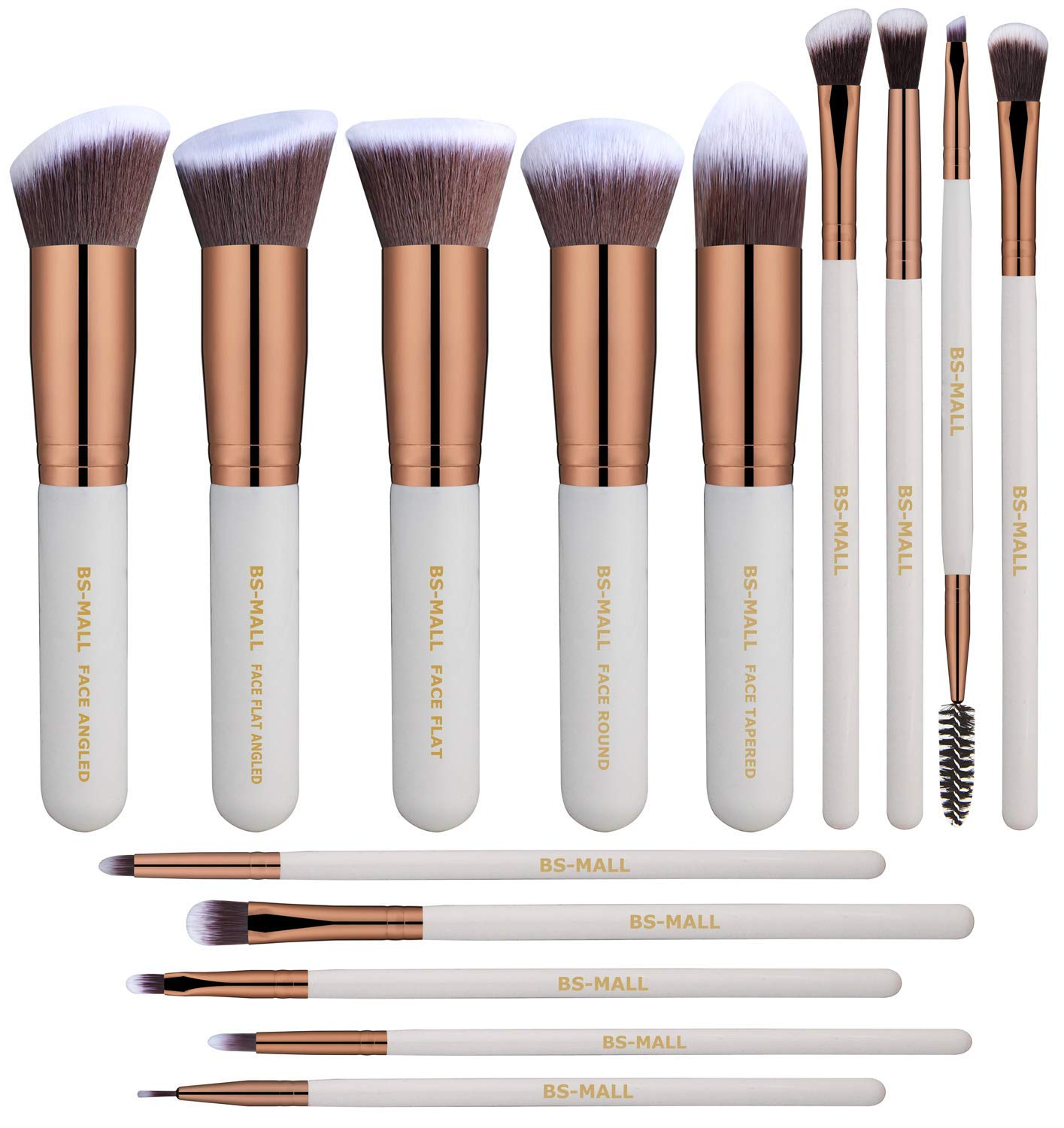 BS-MALL(TM) Makeup Brushes Premium 14 Pcs Synthetic Foundation Powder Concealers Eye Shadows Makeup Brush Sets(white)