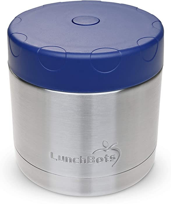 LunchBots 16oz Thermal Stainless Steel Wide Mouth - Insulated Container With Vented Lid - Keeps Food Hot or Cold for Hours - Leak-Proof Portable Thermal Food Jar is Ideal for Soup - 16 ounce - Navy