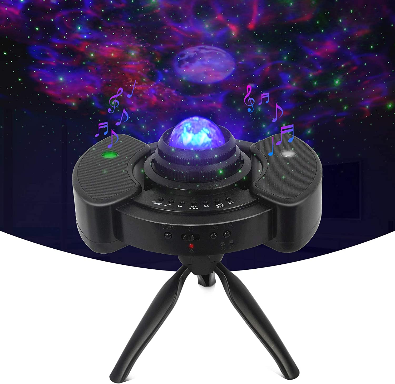 Star Projector with Adjustable Tripod Stand, 4 in 1 Starry Night Light Projector with LED Moon, Sky Clound & Moving Ocean, Built-in Dual Stereo Speaker for Bedroom Decor, Kids, Party, Gift