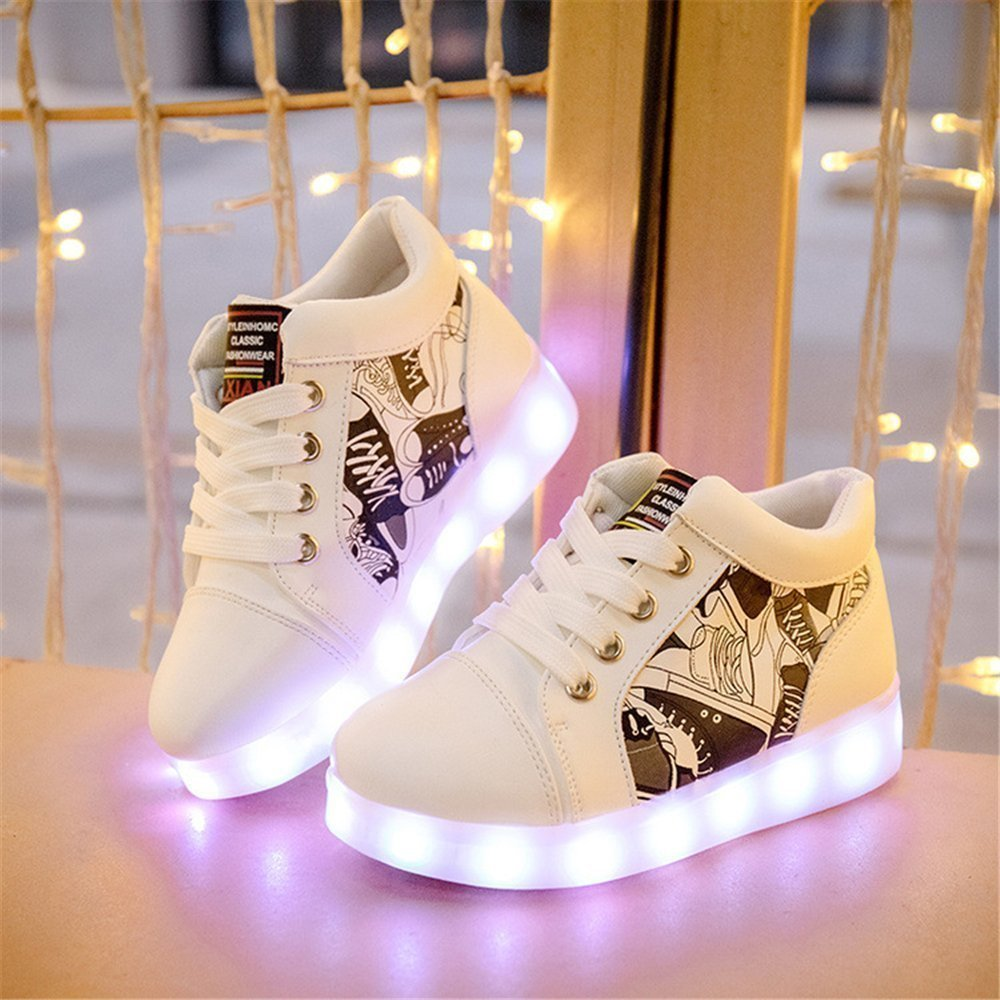 Believed Flashing LED Shoes Colorful Fluorescent Kids USB Rechargeable Luminous Sneakers for Boys Girls
