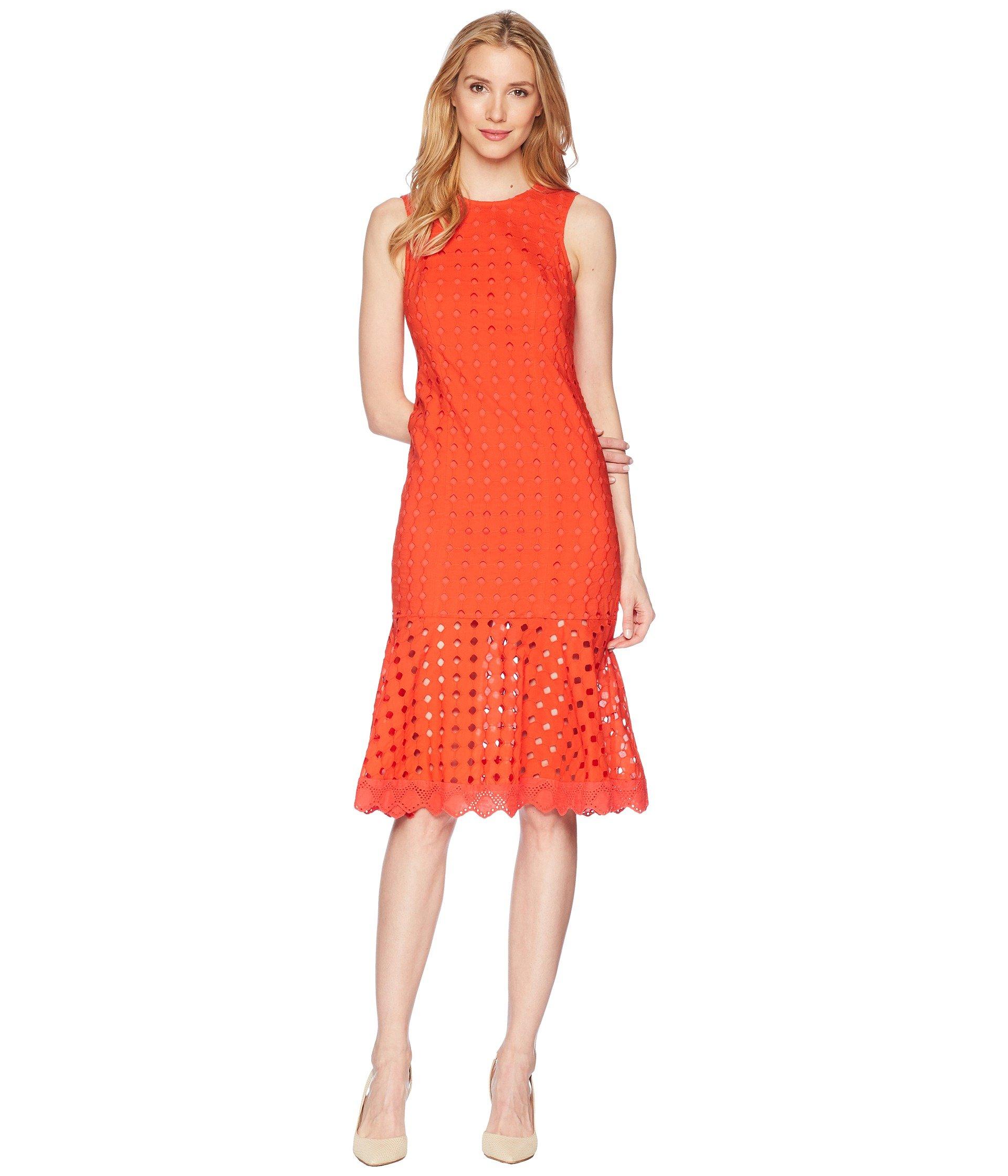 Donna Morgan Women's Sleeveless Eyelet Drop-Waist Dress, Tomato Red, 14