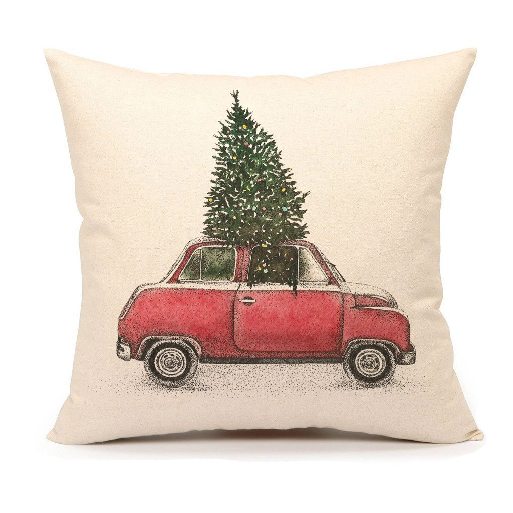 Emotion Christmas Tree and Red Car Throw Pillow Cover Home Decorative Cushion Case