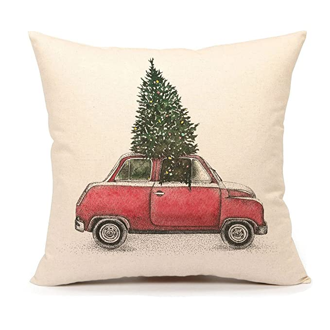 Red car with Christmas Tree on Top Throw Pillow Cover Home Decorative Cushion Case 18 x 18 inch Cotton Linen for Sofa(Vintage Truck) #holidaypillow #vintagecar #redcar #christmastree