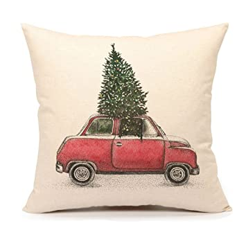 Christmas Tree and Red Car Throw Pillow Cover Home Decorative Cushion Case 18 x 18 Inch