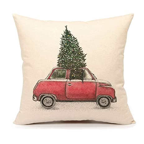 Amazon Christmas Tree and Red Car Throw Pillow Cover Home