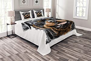 Ambesonne Rottweiler Bedspread, Hand Drawn Image of Dog Type Realistic and Furry, Decorative Quilted 3 Piece Coverlet Set with 2 Pillow Shams, Queen Size, Cinnamon Tan