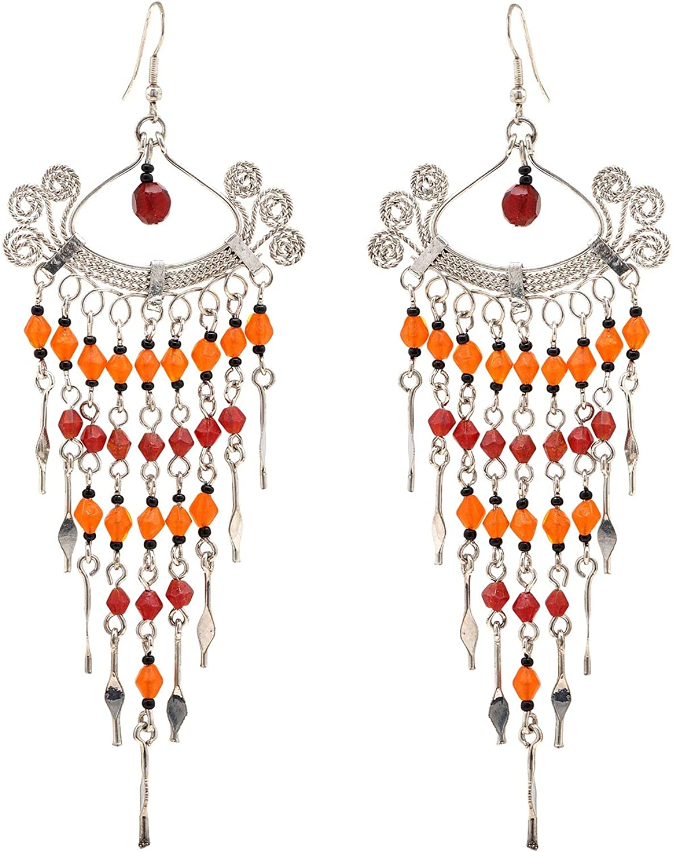 Zephyrr Fashion Jewellery Silver Earrings Black Glass Beaded Contemporary Dangle /& Drop