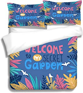 RLDSESS Tropical Bedding Comforters, Gal King Size,Botanical Poster Stylish Tropical Leaves Birds Lettering Welcome to My Secret Garden Illustration,3 Piece Bedding Set with 2 Pillow Shams