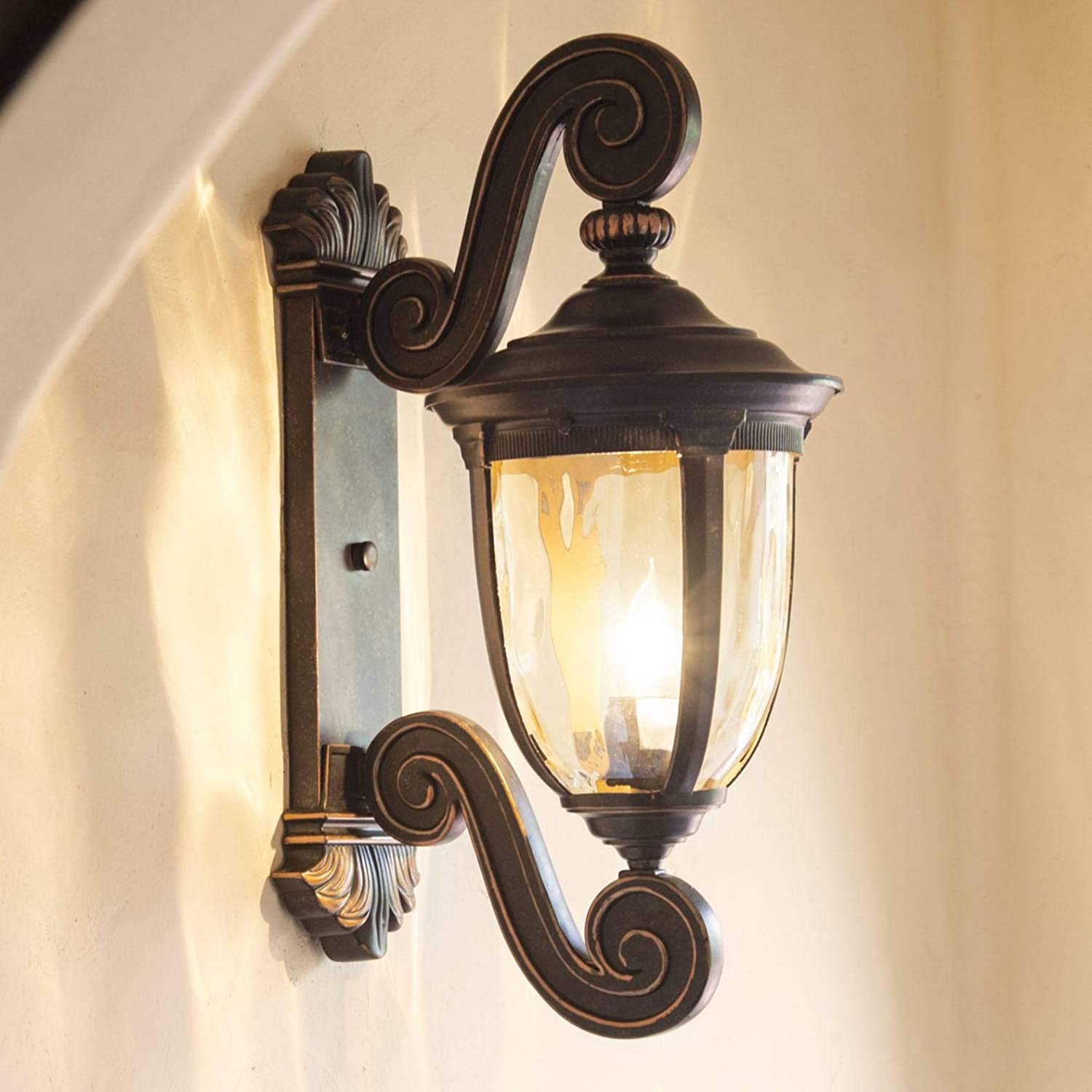 """Bellagio Outdoor Wall Light Fixture Bronze Scroll 24"""" Champagne Hammered Glass for Exterior House Porch Patio - John Timberland"""