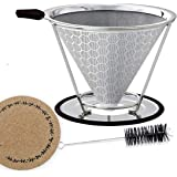 Reusable Coffee Tea Funnel Filter Basket Stainless Steel Cone Double Espresso Dripper Kslong